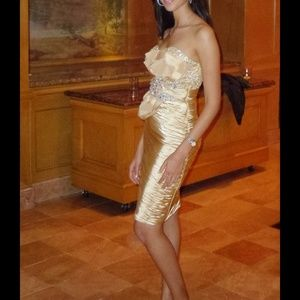 Terani couture Gold cocktail dress